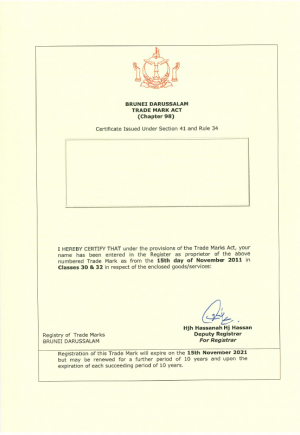 Markenanmeldung Brunei