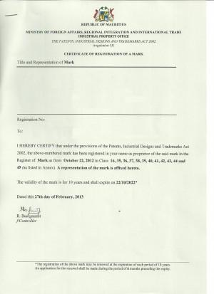 Änderung Markeninhaber (Rechtsnachfolge) Mauritius