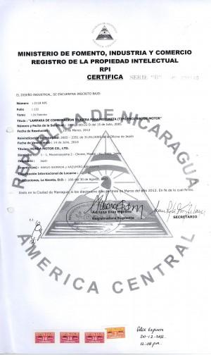 Anmeldung Geschmacksmuster Nicaragua