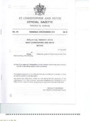 Markenanmeldung St. Kitts und Nevis