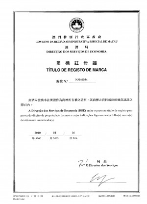 Markenanmeldung Macao