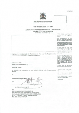 Änderung Markeninhaber (Rechtsnachfolge) Uganda